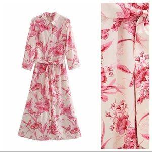 ZARA Floral Print Button Front Midi Dress Tie Belt